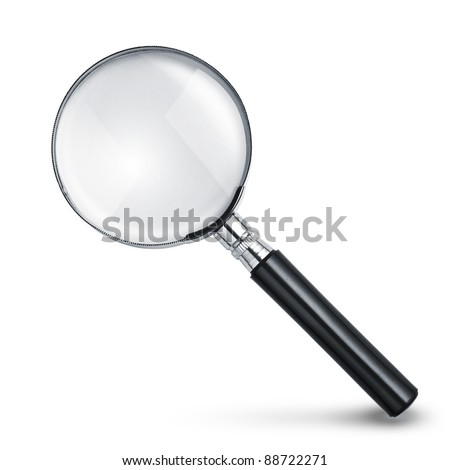 Magnifying glass isolated on white with soft shadow
