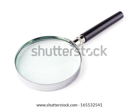 Magnifying glass on a white background - stock photo