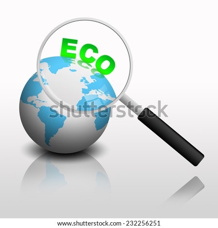 magnifying glass on ecological earth - stock photo
