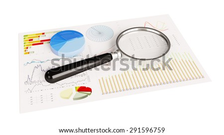 Magnifying glass on financial analysis pie charts on paper (3D Rendering) - stock photo
