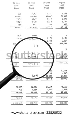 Magnifying Glass On Financial Balance Sheet, Business / Finance, Background, Black&White
