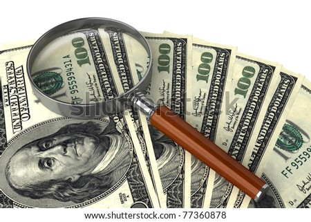 Magnifying glass on money background, business concept - stock photo