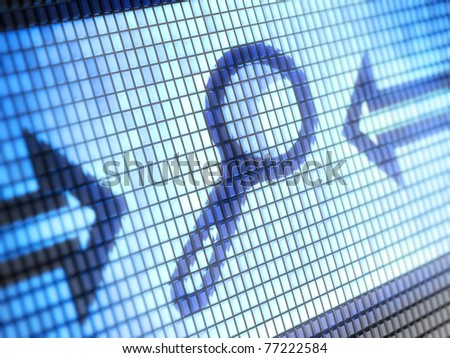 Magnifying glass on screen Full collection of icons like that is in my portfolio - stock photo