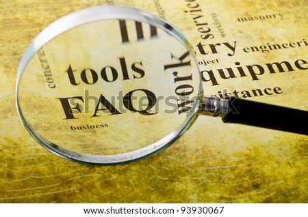 magnifying glass on the artistic background with the words - stock photo