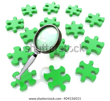 Magnifying glass on the green puzzle.3D Illustration - stock photo