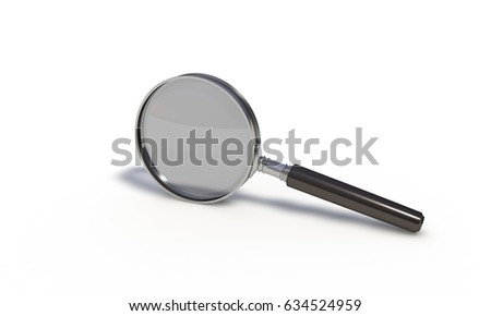 Magnifying glass on the white, 3d render