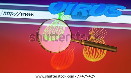 Magnifying glass on virus - stock photo