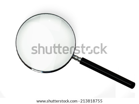 magnifying glass on white background with soft shadow
