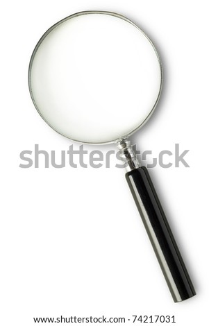 magnifying glass on white with clipping path - stock photo