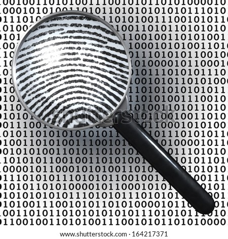 Magnifying glass over background made of binary code, 1 and 0 numbers, showing analog finger print, digital to analog, 3d rendering on 1-0-background - stock photo