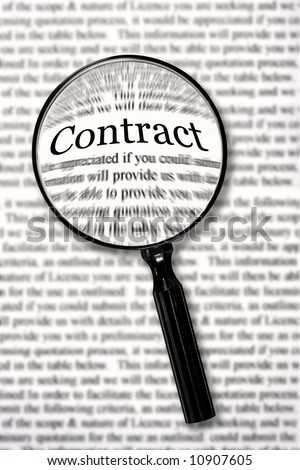 "Magnifying glass over contract document, highlighting the word ""contract.""  Check that fine print! - stock photo"