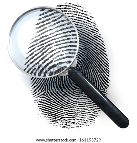 Magnifying glass over finger print, 3d rendering isolated on white background - stock photo