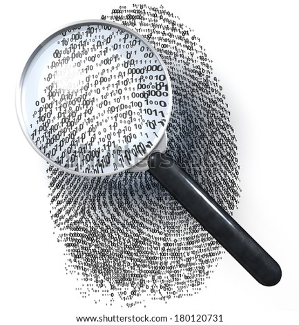 Magnifying glass over fingerprint made of 1/0 grid, 3d rendering isolated on white background - stock photo
