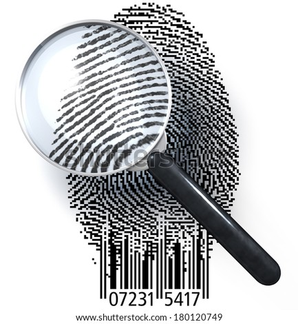Magnifying glass over fingerprint presented as a QR code, EAN code showing realistic, natural fingerprint, 3d rendering isolated on white background - stock photo