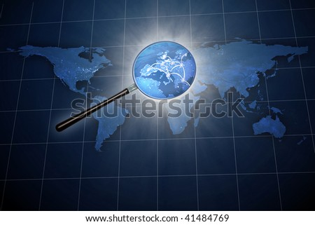 Magnifying glass over the world map - Europe zoom - stock photo