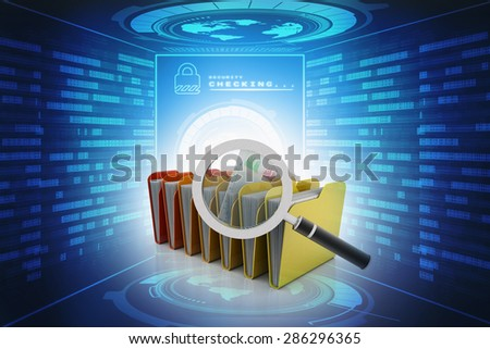 Magnifying glass over the yellow folders. 3d illustration - stock photo