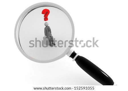 magnifying glass question mark red search - stock photo