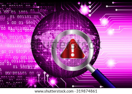 Magnifying Glass scanning and identifying a computer virus. Antivirus protection and computer security concept. PC. one zero. scan. technology digital website internet web.World Map, Global - stock photo