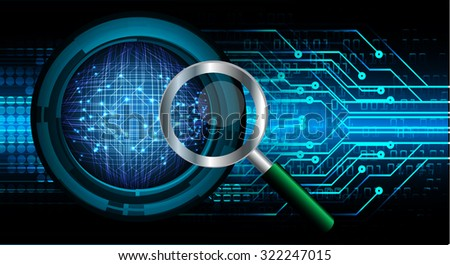 Magnifying Glass scanning and identifying a computer virus. Antivirus protection and computer security concept. PC. one zero. scan. technology digital website internet web, World Map, Global - stock photo