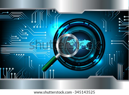 Magnifying Glass scanning and identifying a computer virus. Antivirus protection and computer security concept. PC. vector one zero. scan. technology digital website internet web. World Map, Global. - stock photo