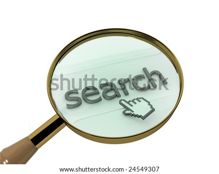 "Magnifying glass ""search"" illustration. Computer generated illustration of a magnifying glass over 3D text and mouse pointer."