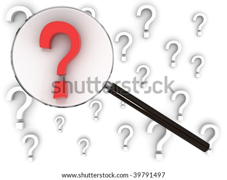Magnifying glass searches amongst many question marks, finding the one that stands out - stock photo