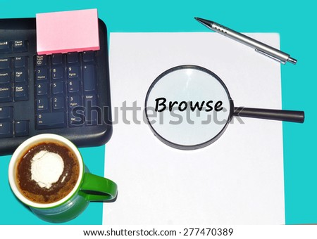 """Magnifying glass searching """"BROWSE"""", Internet concept  - stock photo"""