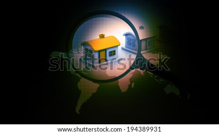 Magnifying glass searching for unique house. Real estate market. - stock photo