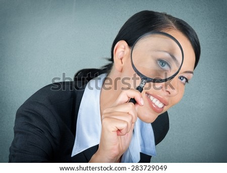Magnifying Glass, Searching, Women.