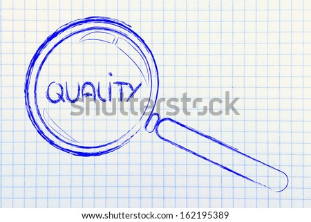 magnifying glass seeking or focusing on quality