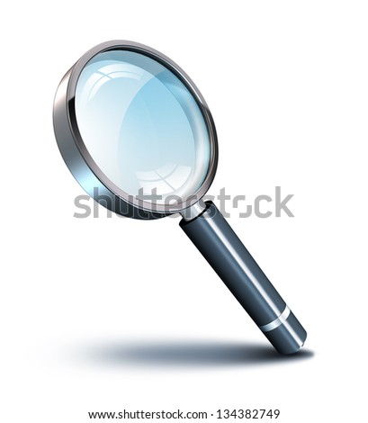 magnifying glass tilted - with shadow - stock photo