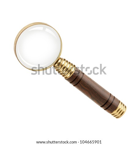 Magnifying glass with a wooden handle on  white background - stock photo