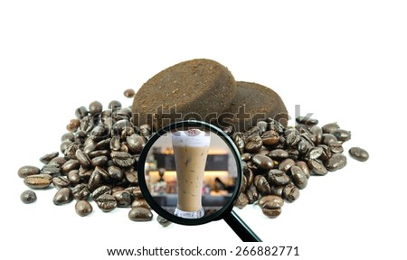 magnifying glass with background of roasted coffee beans to be ice coffee cup on store blurred background, food and drink with business concept - stock photo
