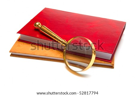 magnifying glass with book find concept - stock photo