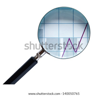 Magnifying glass with business chart on white background. Clipping path is included - stock photo
