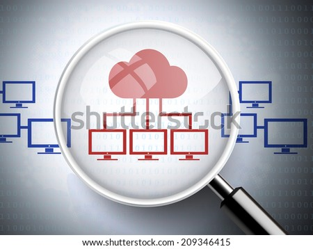 magnifying glass with cloud technology icons - stock photo
