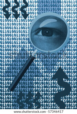 Magnifying glass with eye over binary code - stock photo