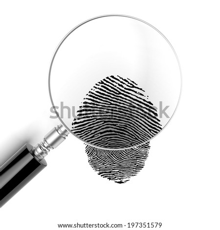 Magnifying glass  with finger print - stock photo