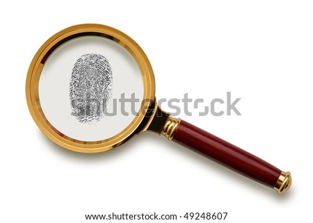 Magnifying glass with fingerprint  isolated on the white background, clipping path included. - stock photo