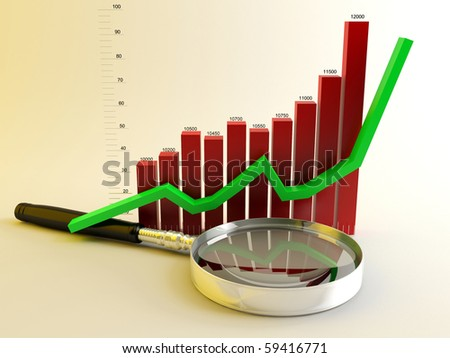 magnifying glass with graph and crooked growing - stock photo