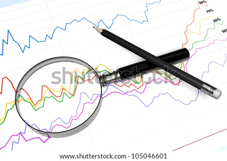 Magnifying glass with pencil over business diagram extreme closeup - stock photo