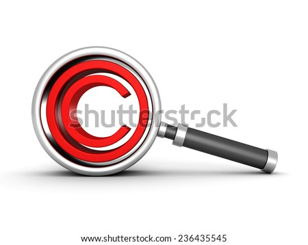 magnifying glass with red copyright icon. 3d render illustration - stock photo