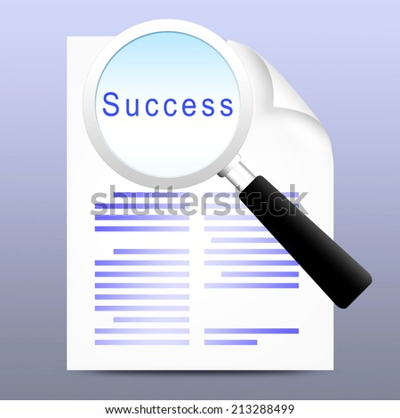 magnifying glass with text on white paper - stock photo