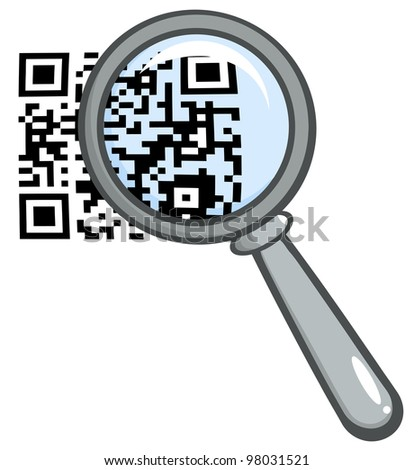 Magnifying Glass Zooming In On A QR Identification Code. Raster Illustration.Vector version also available in portfolio. - stock photo