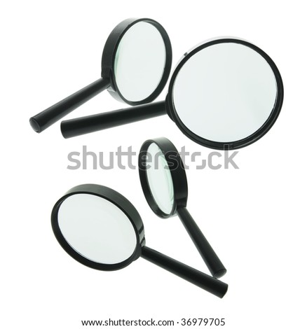 Magnifying Glasses on Isolated White Background