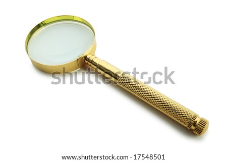 Magnifying lens isolated on white - stock photo