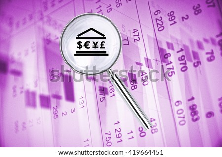 Magnifying lens over background with building icon and currency symbols, with the financial data visible in the background. 3D rendering. - stock photo