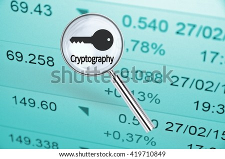 Magnifying lens over background with text Cryptography, with the financial data visible in the background. 3D rendering.