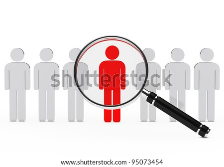 magnifying lens over teamwork series with leader - stock photo