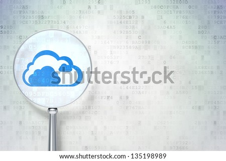 Magnifying optical glass with Cloud icon on digital background, empty copyspace for card, text, advertising, 3d render - stock photo
